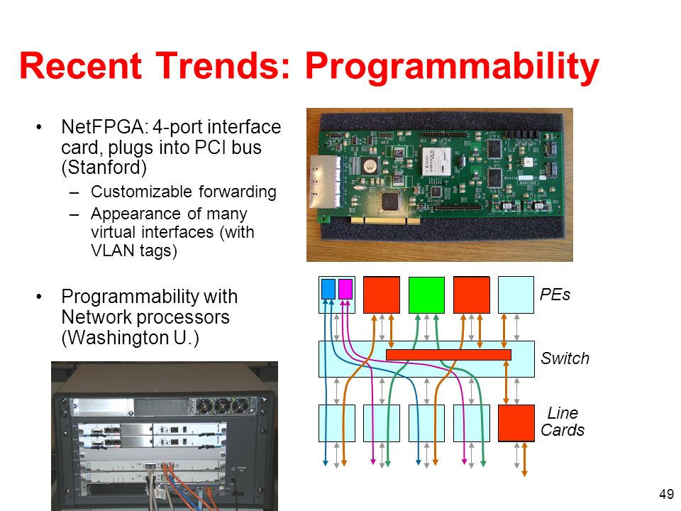 50The Stanford Clean Slate Program http://cleanslate.stanford.edu Experimenters Dream (Vendors Nightmare) Standard Network Processing Standard Network Processing hw sw Experimenter writes experimental code on switch/router User- defined Processing User- defined Processing