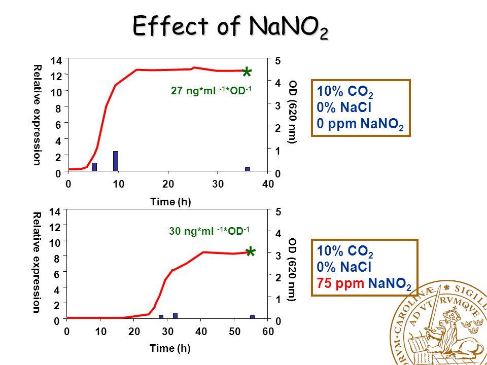 Effect of CO 2 10% CO 2 0% NaCl 0 ppm NaNO 2 70% CO 2 0% NaCl 0 ppm NaNO 2 Relative expression Time (h) 010203040 0 2 4 6 8 10 12 14 OD (620 nm) 0 1 2 3 4 5 Time (h) 010203040 Relative expression 0 2 4 6 8 10 12 14 OD (620 nm) 0 1 2 3 4 5 27 ng*ml -1 *OD -1 * 126 ng*ml -1 *OD -1 *