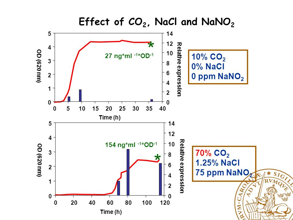 LPD= m =b 0 +b 13 *[CO 2 ]*[NaNO 2 ]+b 22 *[NaCl] 2 +e log(RE)=b 0 +b 11 *[CO 2 ] 2 +b 22 *[NaCl] 2 +e Traditional food preservatives (CO2, NaCl and NaNO2) stimulates the neurotoxin formation increasing the risk for food borne botulism