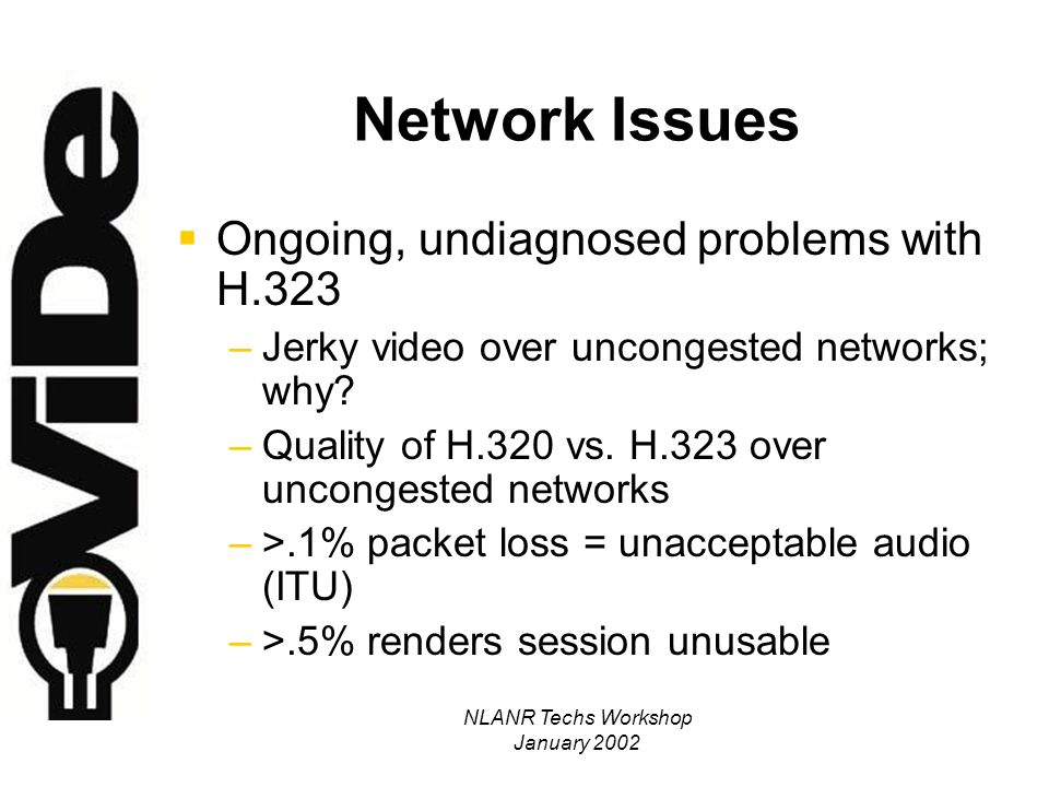 NLANR Techs Workshop January 2002 H.323 Network Requirements: Latency One-Way Delay: –[ 0 – 150 ms] : Excellent .
