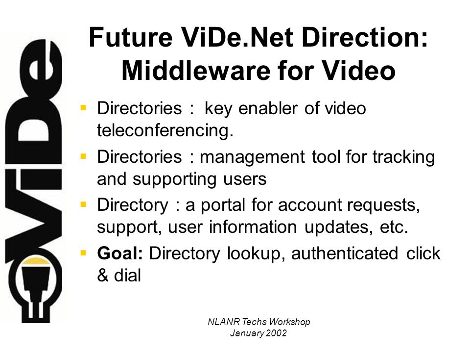 NLANR Techs Workshop January 2002 Middleware for Video: NSF National Middleware Initiative NMI Release 1 due this Spring h323Identify and h323Zone object classes will enable h.323 attributes to be added to campus LDAP directories Coordination with Internet2 Middleware activities will create a globally searchable directory of video users Will allow automatic user account management by integration with enterprise directories