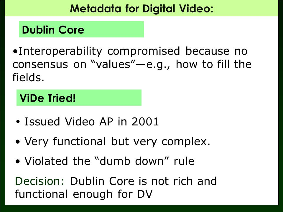 Metadata for Digital Video: Synchronization between content and description Supports description for intellectual content and all physical versions of that content Recursive and hierarchicalwhole/part (segment) description.