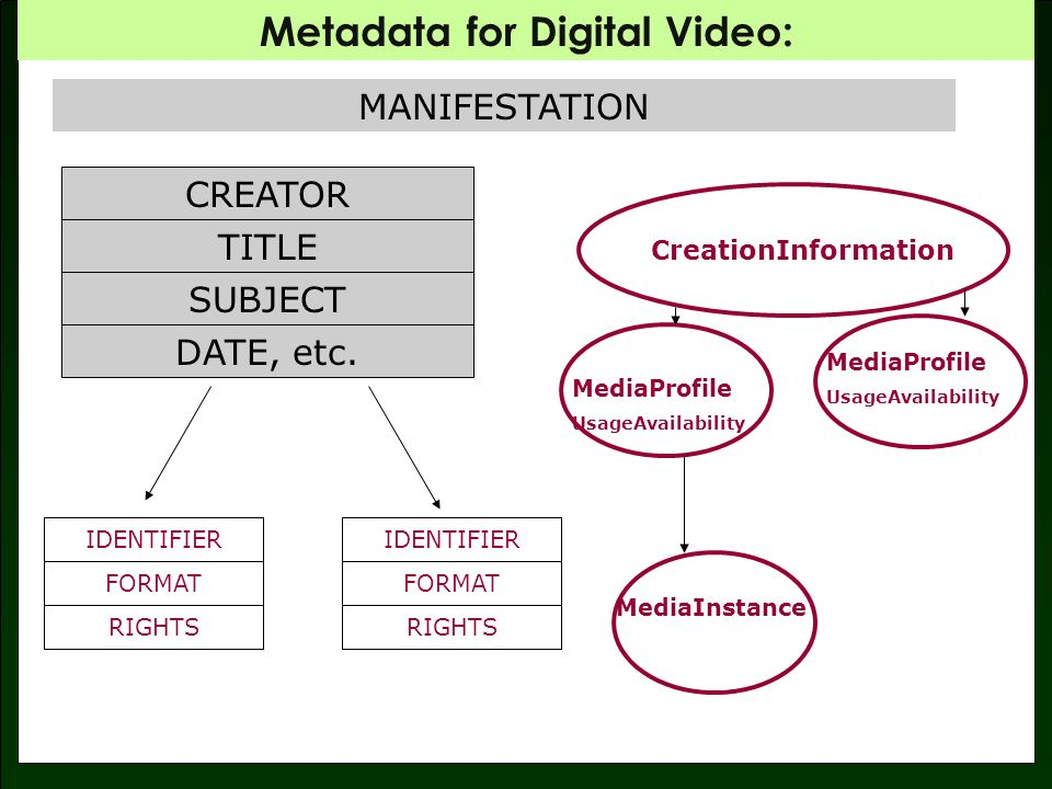 Metadata for Digital Video: Work/Manifestation Manifestation Item MPEG-7