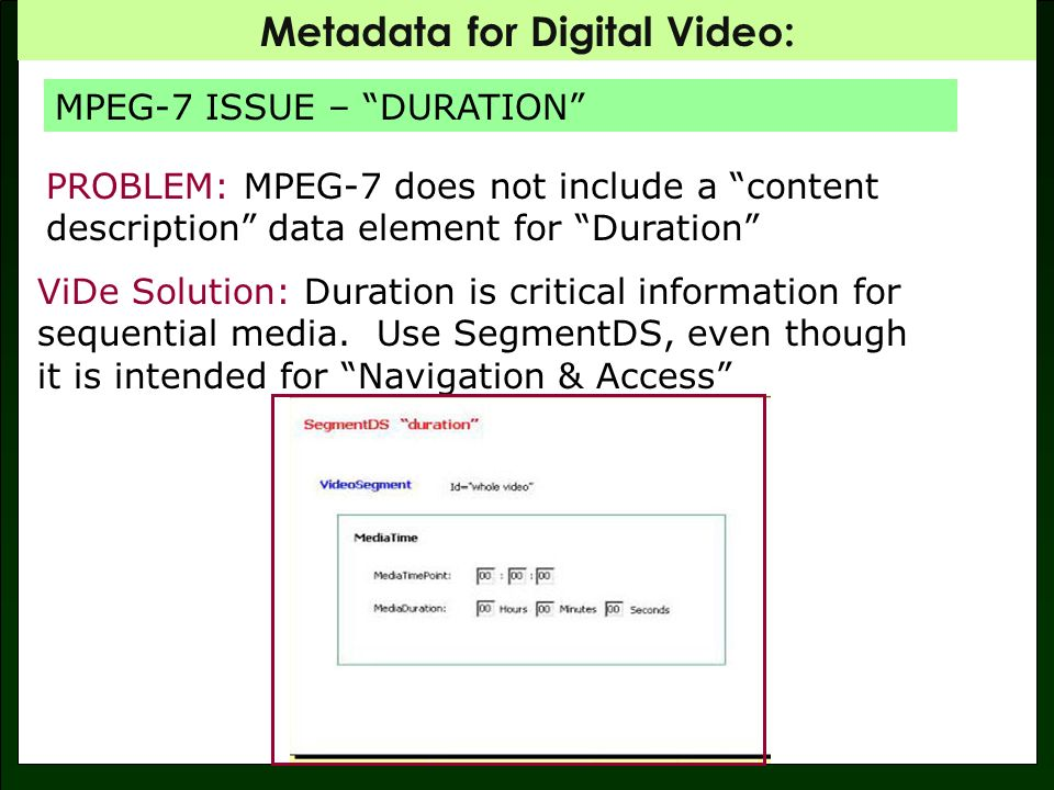 Metadata for Digital Video: SegmentDS: Included in Navigation and Access: intended for nontextual bitstream processing.