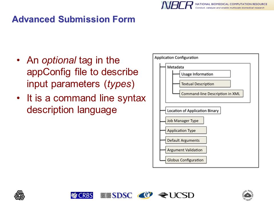 Command Line Input Arguments Taxonomy Flag: not ordered, type Boolean, a dash followed by characters Tagged: not ordered, Prefixed by some tag Untagged: ordered, not prefixed Parameters: many types: integer, float, string, file, enumeration, etc.