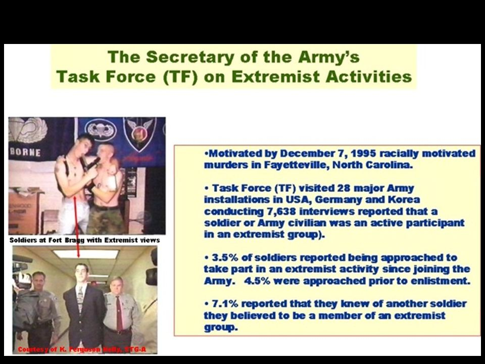 > Gang-related activities appear to be more pervasive than extremist activities as defined in Army Regulation 600-20.