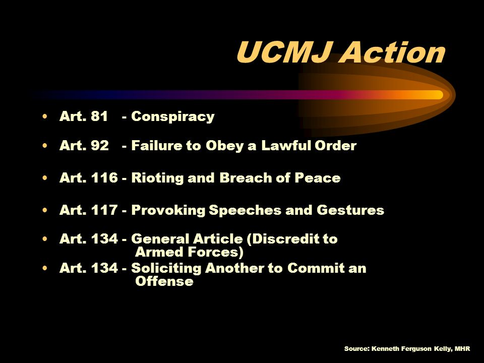 Source: Kenneth Ferguson Kelly, MHR Avoid denial of gang dynamics Develop standard procedures Know/enforce Policies and regulations Educate leaders and organization members of the consequences for participation Consider involuntary separation of violators Initiate UCMJ actions for violations of military law PROACTIVE RESPONSES ** SHARE-SHARE-SHARE!!!!!!!.