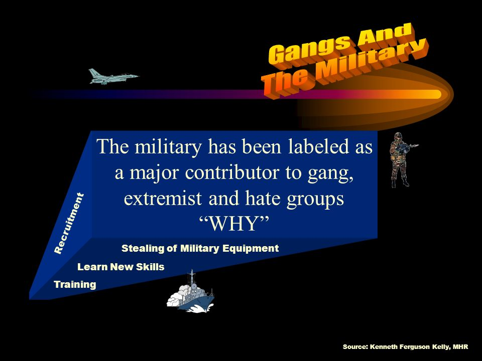 Source: Kenneth Ferguson Kelly, MHR WHY GANG MEMBERS JOIN THE MILITARY Attempt to leave the Gang Life Seeking Legal Employment Recruitment of Dependents and Soldiers Weapons Acquisition/Trafficking Learn Tactics Drug Trafficking