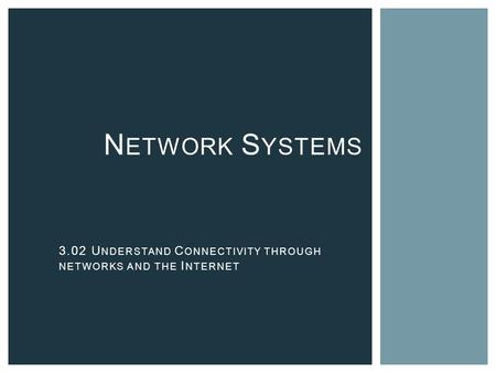 N ETWORK S YSTEMS 3.02 U NDERSTAND C ONNECTIVITY THROUGH NETWORKS AND THE I NTERNET.