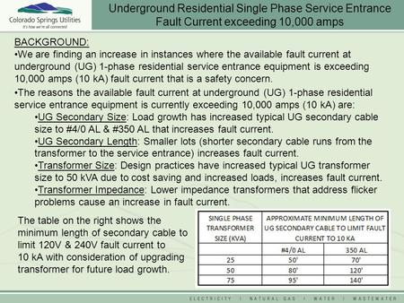 BACKGROUND: We are finding an increase in instances where the available fault current at underground (UG) 1-phase residential service entrance equipment.