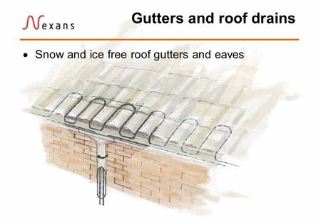 Gutters and roof drains Snow and ice free roof gutters and eaves.
