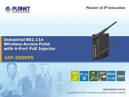 Industrial 802.11n Wireless Access Point with 4-Port PoE Injector IAP-2000PS.