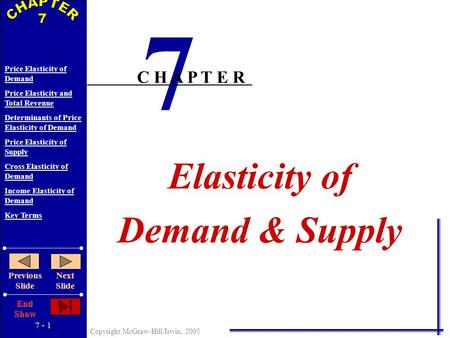 7 - 1 Copyright McGraw-Hill/Irwin, 2005 Price Elasticity of Demand Price Elasticity and Total Revenue Determinants of Price Elasticity of Demand Price.