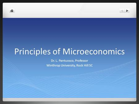 Principles of Microeconomics Dr. L. Pantuosco, Professor Winthrop University, Rock Hill SC.