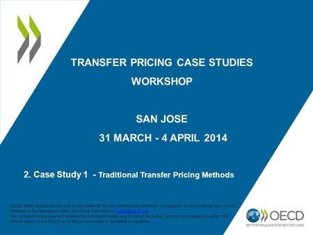 2. Case Study 1 - Traditional Transfer Pricing Methods