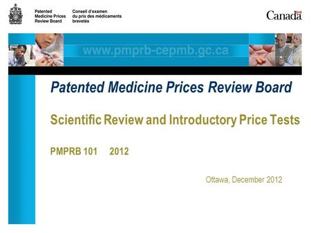 Scientific Review and Introductory Price Tests PMPRB 101 2012 Ottawa, December 2012 Patented Medicine Prices Review Board.