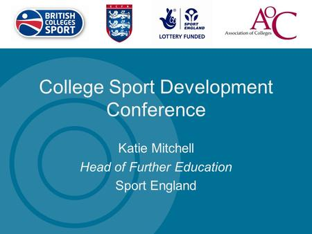 College Sport Development Conference Katie Mitchell Head of Further Education Sport England.