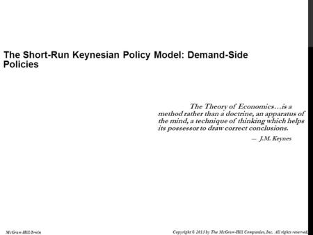 The Short-Run Keynesian Policy Model: Demand-Side Policies