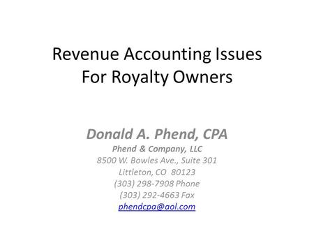 Revenue Accounting Issues For Royalty Owners