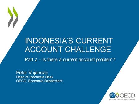 Petar Vujanovic Head of Indonesia Desk OECD, Economic Department Part 2 – Is there a current account problem? INDONESIAS CURRENT ACCOUNT CHALLENGE.