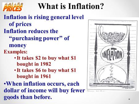 What is Inflation? Inflation is rising general level of prices Inflation reduces the purchasing power of money Examples: It takes $2 to buy what $1 bought.