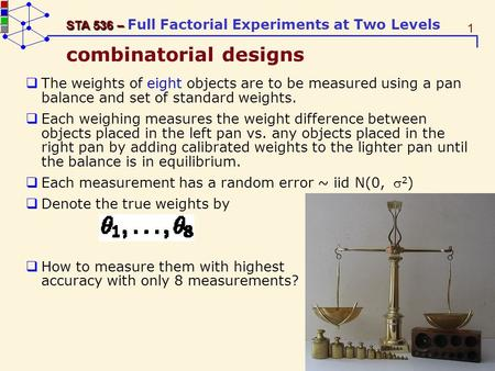 1 STA 536 – STA 536 – Full Factorial Experiments at Two Levels combinatorial designs The weights of eight objects are to be measured using a pan balance.
