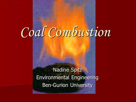 Coal Combustion Nadine Spitz Environmental Engineering Ben-Gurion University.