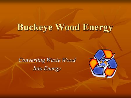 Buckeye Wood Energy Converting Waste Wood Into Energy.