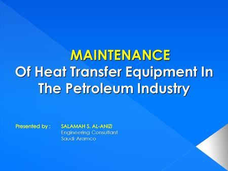 Objective of equipment maintenance Objective of equipment maintenance Maintenance frequency Maintenance frequency Inspection and Testing Inspection.