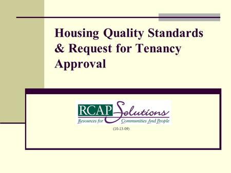 Housing Quality Standards & Request for Tenancy Approval