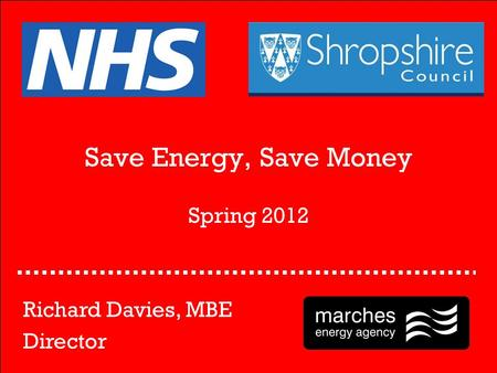 Save Energy, Save Money Spring 2012 Richard Davies, MBE Director.