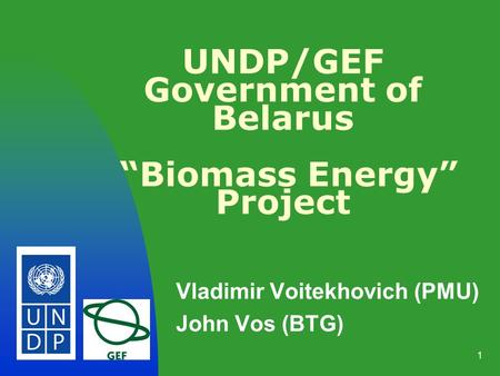 1 UNDP/GEF Government of Belarus Biomass Energy Project Vladimir Voitekhovich (PMU) John Vos (BTG)