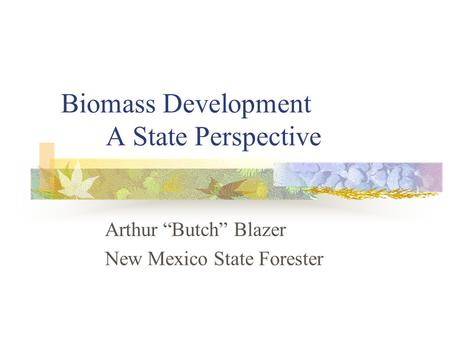 Biomass Development A State Perspective Arthur Butch Blazer New Mexico State Forester.