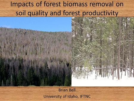 Impacts of forest biomass removal on soil quality and forest productivity Brian Bell University of Idaho, IFTNC.