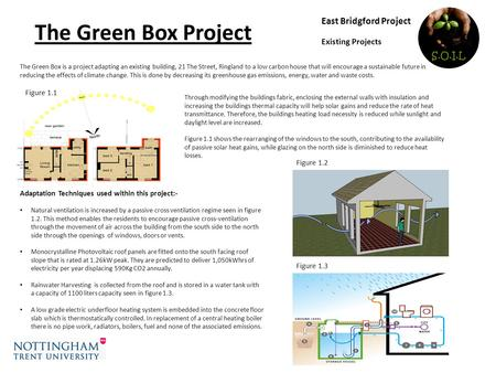 East Bridgford Project Existing Projects The Green Box Project Adaptation Techniques used within this project:- Natural ventilation is increased by a passive.
