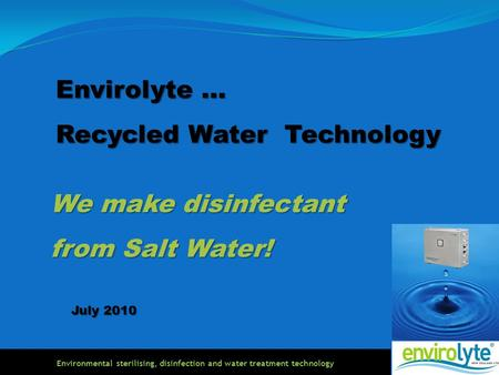 Environmental sterilising, disinfection and water treatment technology