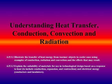 Understanding Heat Transfer, Conduction, Convection and Radiation 6.P.3.1 Illustrate the transfer of heat energy from warmer objects to cooler ones using.