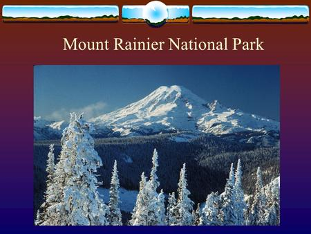 Mount Rainier National Park. Mt. Rainier National Park Established in 1899, celebrating its 100 th Anniversary Less than 100 miles from downtown Seattle.