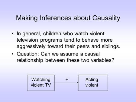Making Inferences about Causality In general, children who watch violent television programs tend to behave more aggressively toward their peers and siblings.