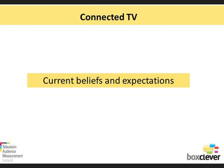 Connected TV Current beliefs and expectations. Whats What TV Connected TV OTT IPTV Companion Device Mobile Laptop Tablet Pay TVFree TV.