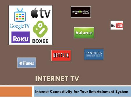 INTERNET TV. What is Internet TV? Video One Definition: Video delivered over the Web to your TV VideoInformation Newer Definition: Video and Information.