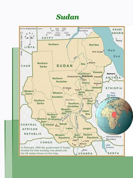 Sudan. Overview Capital: Khartoum Area: 2,505,810 km² Population: 41,236,378 (2006 estimate) Languages: Arabic (official), local dialects of Nubian, Nilotic,