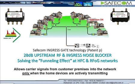 28dB UPSTREAM RF & INGRESS NOISE BLOCKER Solving the Funneling Effect at HFC & RFoG networks Safecom INGRESS GATE technology (Patent p) 28dB UPSTREAM RF.