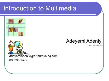 Introduction to Multimedia Adeyemi Adeniyi Bsc, MCP MCTS 08033635485.
