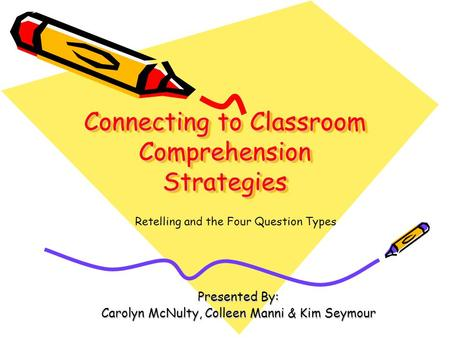 Connecting to Classroom Comprehension Strategies Presented By: Carolyn McNulty, Colleen Manni & Kim Seymour Retelling and the Four Question Types.