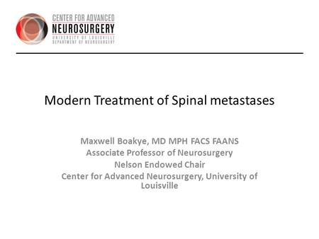 Modern Treatment of Spinal metastases