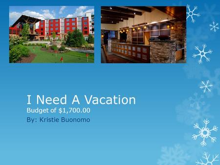 I Need A Vacation Budget of $1,700.00 By: Kristie Buonomo.