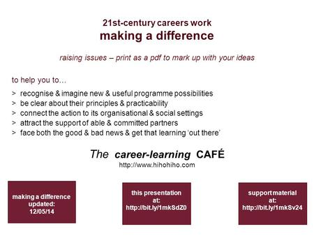 21st-century careers work making a difference making a difference updated: 12/05/14 support material at:  to help you to… > recognise.