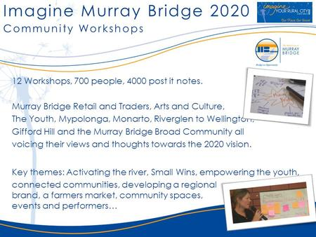 Imagine Murray Bridge 2020 12 Workshops, 700 people, 4000 post it notes. Murray Bridge Retail and Traders, Arts and Culture, The Youth, Mypolonga, Monarto,