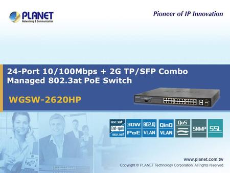 24-Port 10/100Mbps + 2G TP/SFP Combo Managed 802.3at PoE Switch WGSW-2620HP.